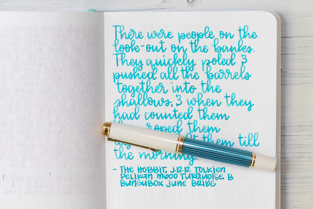 I used a broad Pelikan M600 Turquoise on Tomoe River 68gsm. The ink had an average flow.