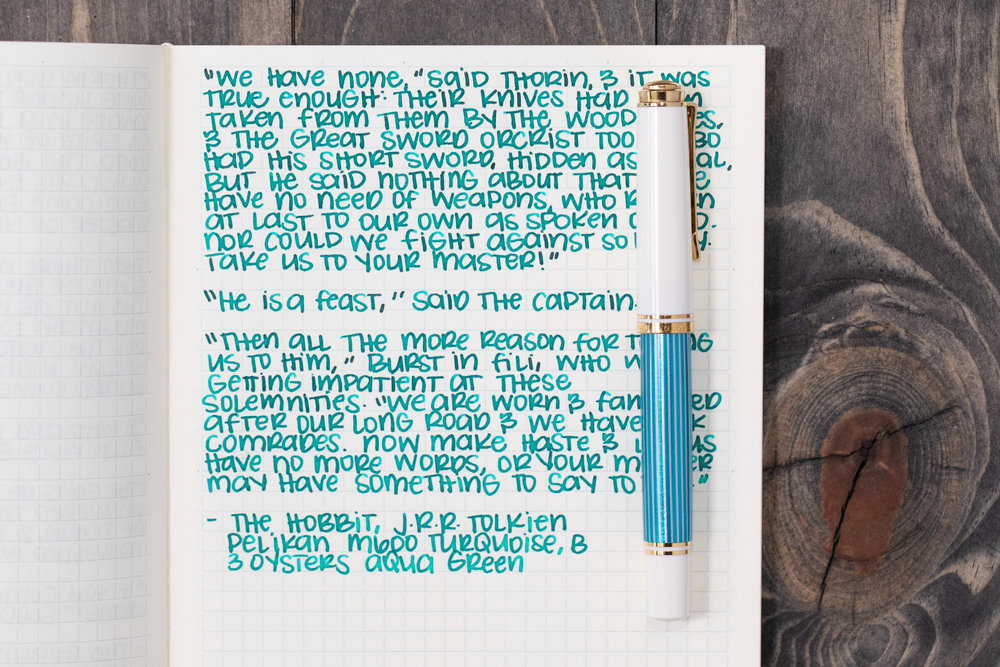 I used a broad Pelikan M600 Turquoise on a Midori MD Notebook. The ink had an average to dry flow.