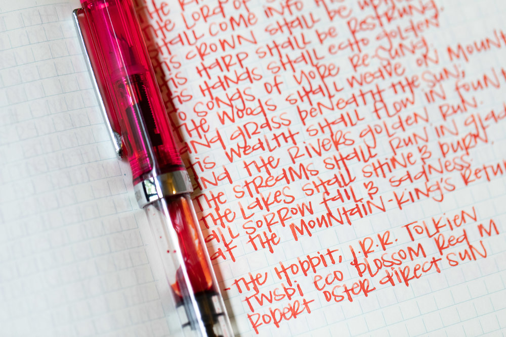 I used a medium TWSBI Eco Blossom Red on a Midori MD Notebook. The ink had a slightly dry flow, but not bad.
