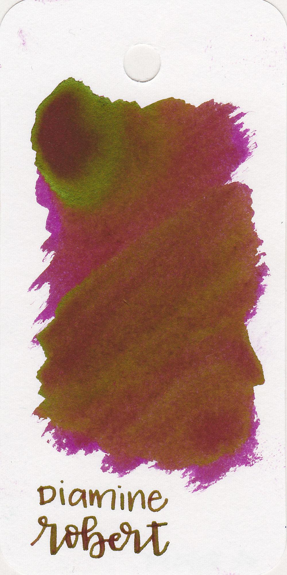 The color: - Robert is a dark purple-magenta.