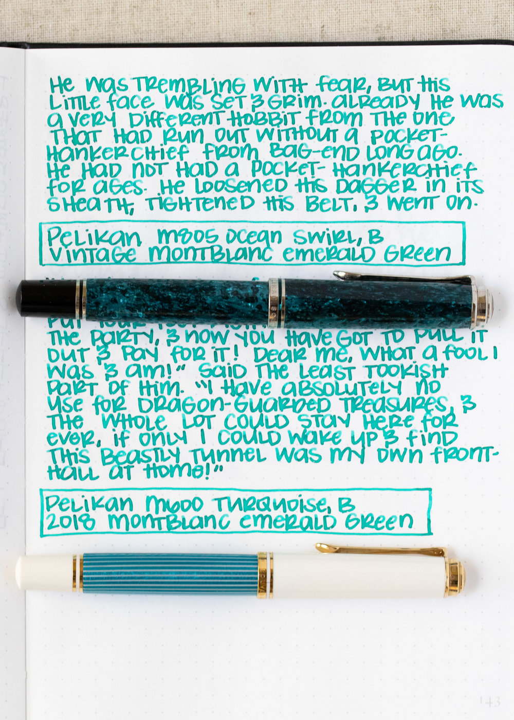 Longer Writing: - I used a Pelikans with broad nibs on Tomoe River paper. The inks had average flows. Both versions are very similar in writing.