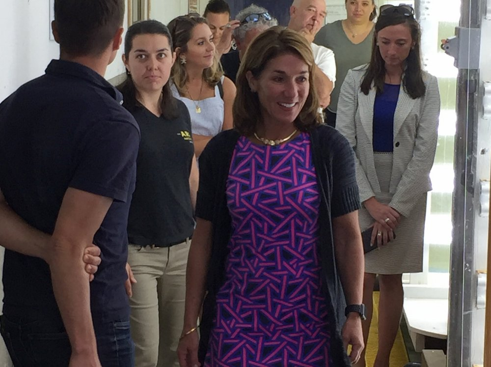 Massachusetts Lt. Governor, Karyn Polito, tours the A.R.C. hatchery.