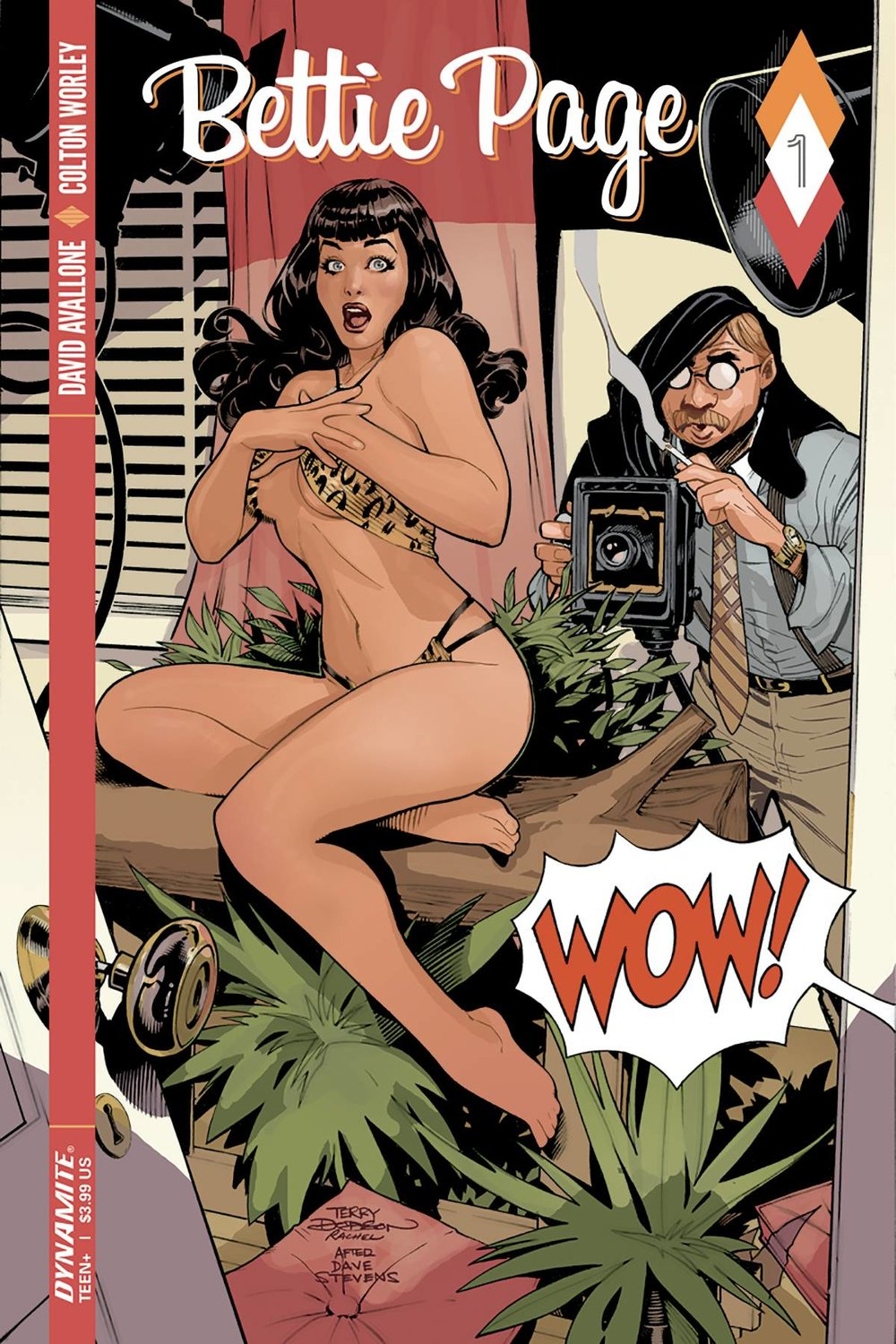 BETTIE PAGE #1 - DYNAMITE ENTERTAINMENTWritten by David AvalloneArt by Colton WorleyShe's more modest than Ms. Blaise, but peels more than Ms. Emma. She out-vamps Vampirella, but she's sweeter than Honey West. She put the mod in model, and the bangs in bang-bang. Now the world can know the truth:  her classified adventures back in 1951 Hollywood have been declassified.  Dynamite, David Avallone and Colton Worley are proud to present The Secret Diary of Bettie Page, in handy comic book form.