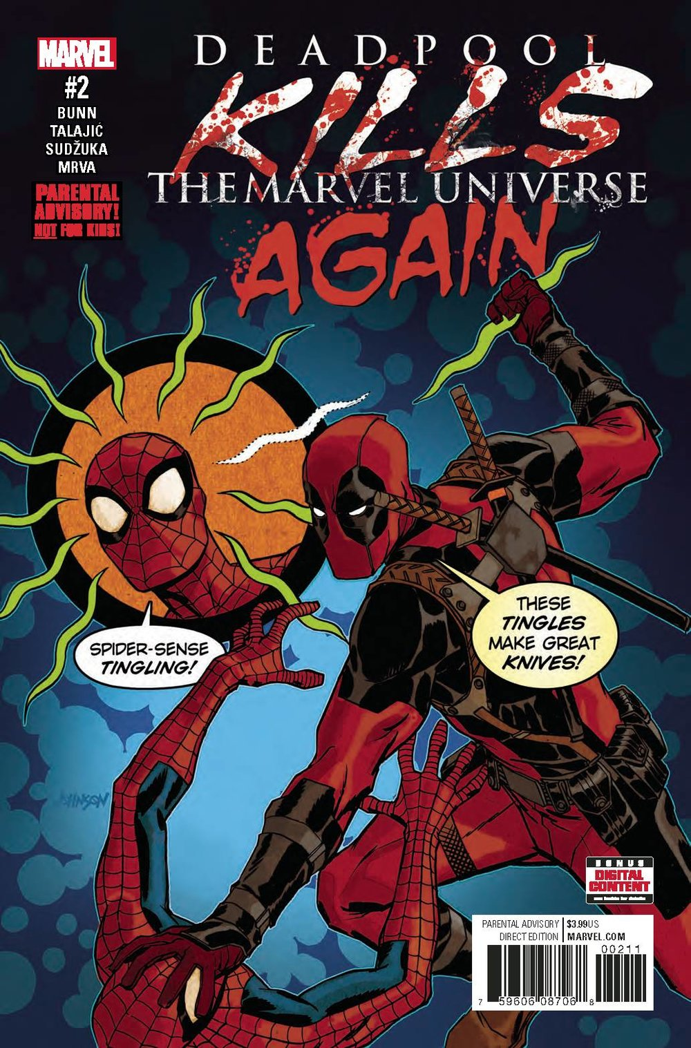 DEADPOOL KILLS MARVEL UNIVERSE AGAIN #2 (OF 5) - MARVEL COMICSWritten by Cullen BunnArt by Dalibor TalajicRemember the time Deadpool went a little TOO crazy and killed the entire Marvel Universe? Well, this isn't that. This is a DIFFERENT time. Writer Cullen Bunn and artist Dalibor Talajic (A.K.A. the creators behind DEADPOOL KILLS THE MARVEL UNIVERSE) have reunited for ANOTHER tale of Deadpool taking out all of your faves in the most horrific ways possible! It's gonna hurt him more than it hurts you...and you're gonna love it!