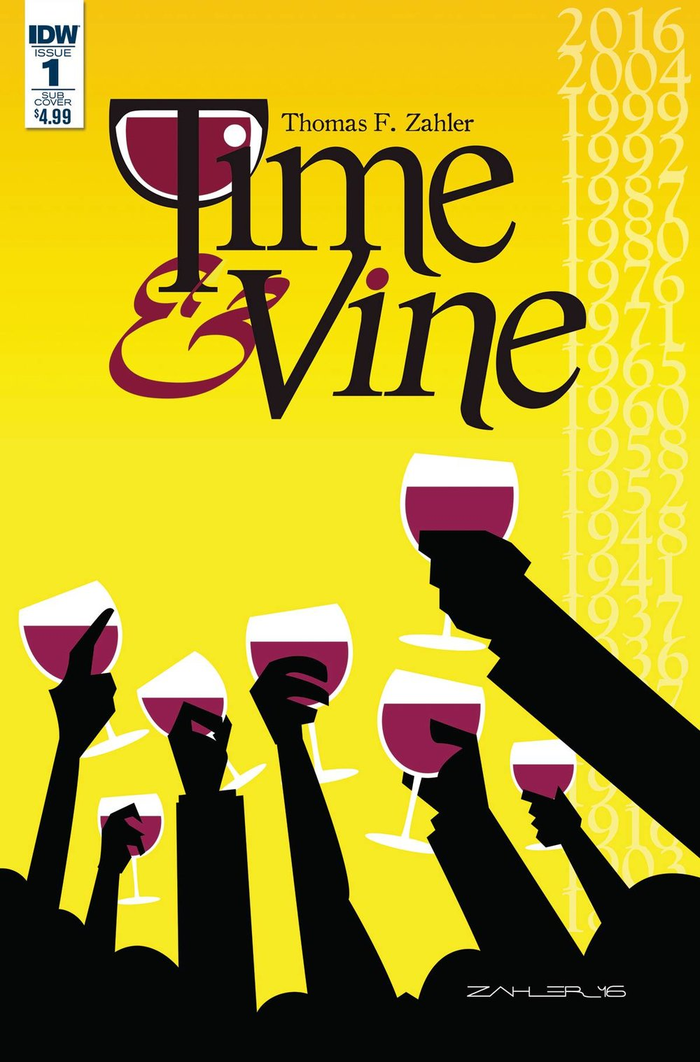 TIME & VINE #1 - IDW PUBLISHINGWritten & Illustrated by Thom ZahlerA grade school history teacher, looking for a respite from her life's problems, finds the ultimate escape when the owner of a local winery reveals its secret to her: drink the right glass of wine in the right tasting room, and travel back in time to the year it was bottled. Together, they'll journey through the history of the 200-year old winery... as well as their own.