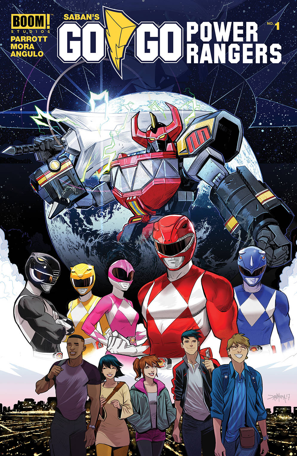 GO GO POWER RANGERS #1  - BOOM! STUDIOSWritten by Ryan Parrott Art by Dan Mora The untold, personal story of what happens to Jason, Kim, Trini, Zack, and Billy following in the days after they first became Power Rangers.Fighting evil is hard, but surviving high school may be even harder-welcome to real life in Angel Grove.