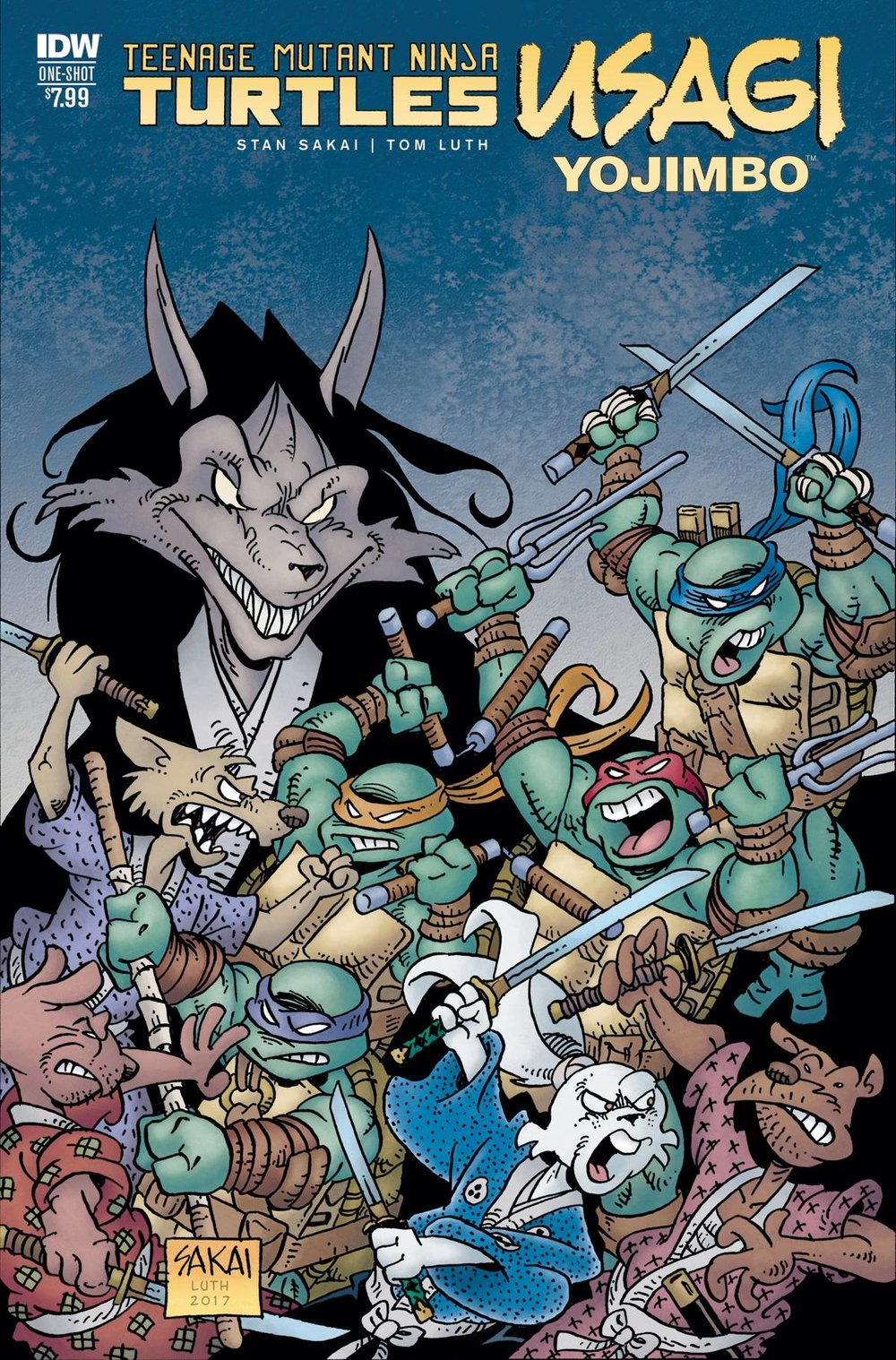 TMNT USAGI YOJIMBO - IDW PUBLISHINGWritten and illustrated by Stan SakaiThe TMNT are teleported to a world of talking animals-the world of Usagi Yojimbo! When the samarai rabbit embarks on a quest to save Japan and the deadly Jei blocks his path, a Turtle team-up may be the only chance for survival!