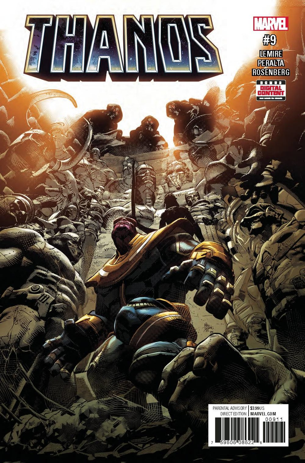 THANOS #9 - MARVEL COMICSWritten by Jeff LemireArt by German Peralta• The God Quarry.•  None who enter have ever returned.•  Now, it's Thanos' turn.