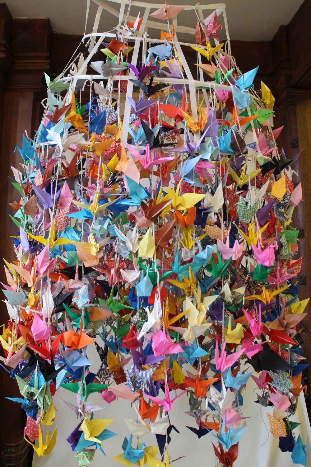 1000 cranes made by the public at St. Mary's church. All folded with wishes for 2016