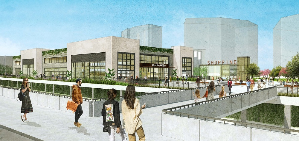 A new trolley station under construction in San Diego will link riders to the next-door Westfield UTC mall. Illustration: San Diego Association of Governments