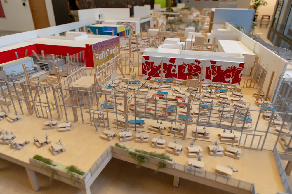 A scale model of one of the buildings on Facebook's Menlo Park campus gives a bird's-eye view of the open floor plan concept used in the company's offices. Photo: Gregory Cowley