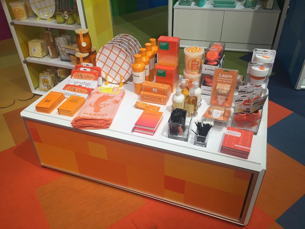 Curated merchandise is displayed by color, here a group of orange wares, at the STORY at the Macy's at the Willowbrook Mall in Wayne, one of four of the new in-store shops located in New Jersey. Photo: Linda Moss for CoStar