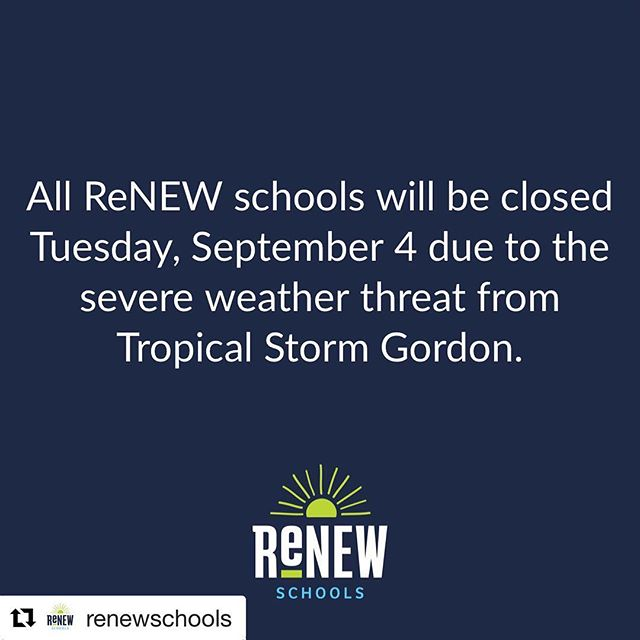 #Repost @renewschools ・・・ Due to the severe weather threat related to Tropical Storm Gordon, the Orleans Parish School Board (OPSB) is closing all parish schools Tuesday, September 4.  We're monitoring the storm and keeping in close communication with the OPSB. Tuesday evening, we will update our families on future operational plans. #renewschools #opsb #nolaed #nola