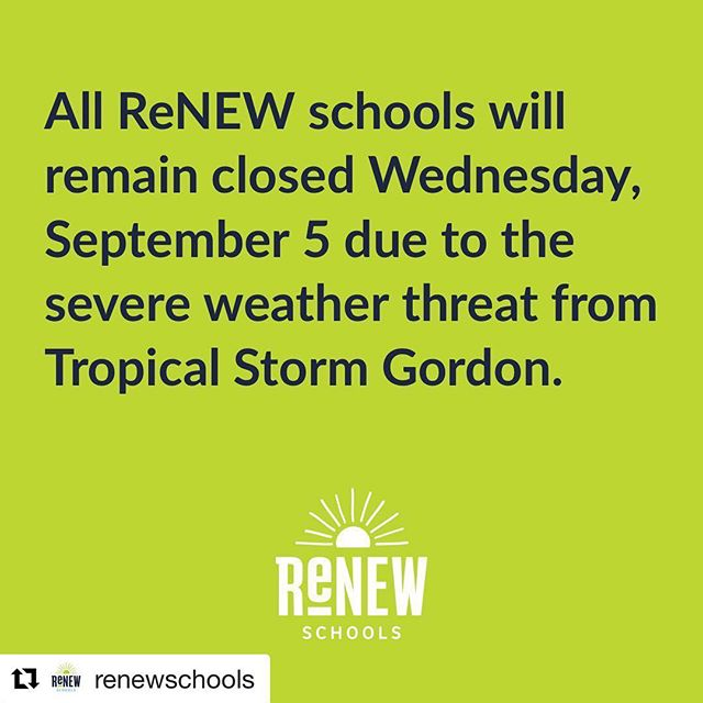 #Repost @renewschools ・・・ Due to the severe weather threat from Tropical Storm Gordon, the Orleans Parish School Board (OPSB) announced all parish schools will remain closed Wednesday, Sept 5.  We will keep families updated on future operational plans. #renewschools #opsb #nolaed #nola