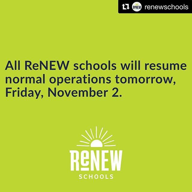 #Repost @renewschools ・・・ All ReNEW schools will reopen tomorrow (Friday, Nov. 2)  #renewschools #nola #nolaed