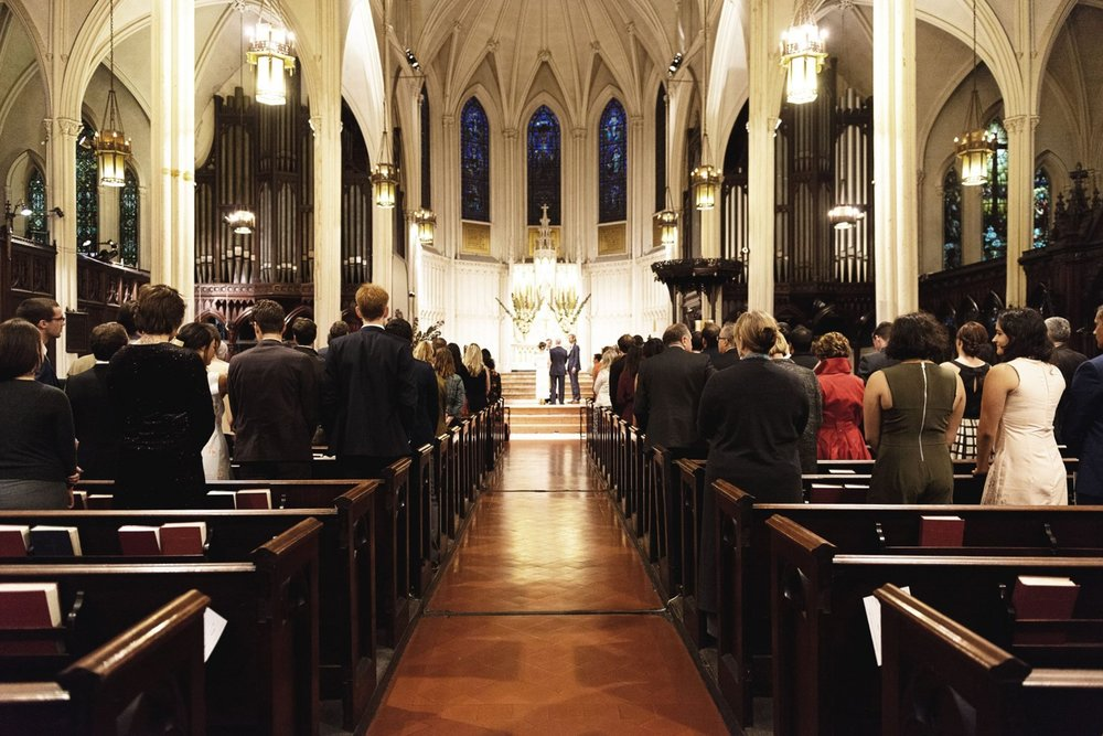 A wedding in the main sanctuary of Calvary Church at 277 Park Avenue S.