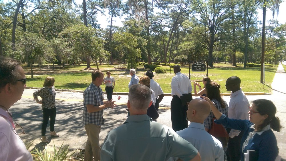 Consultants, City Officials, and City Residents touring neighborhoods in Thomasville