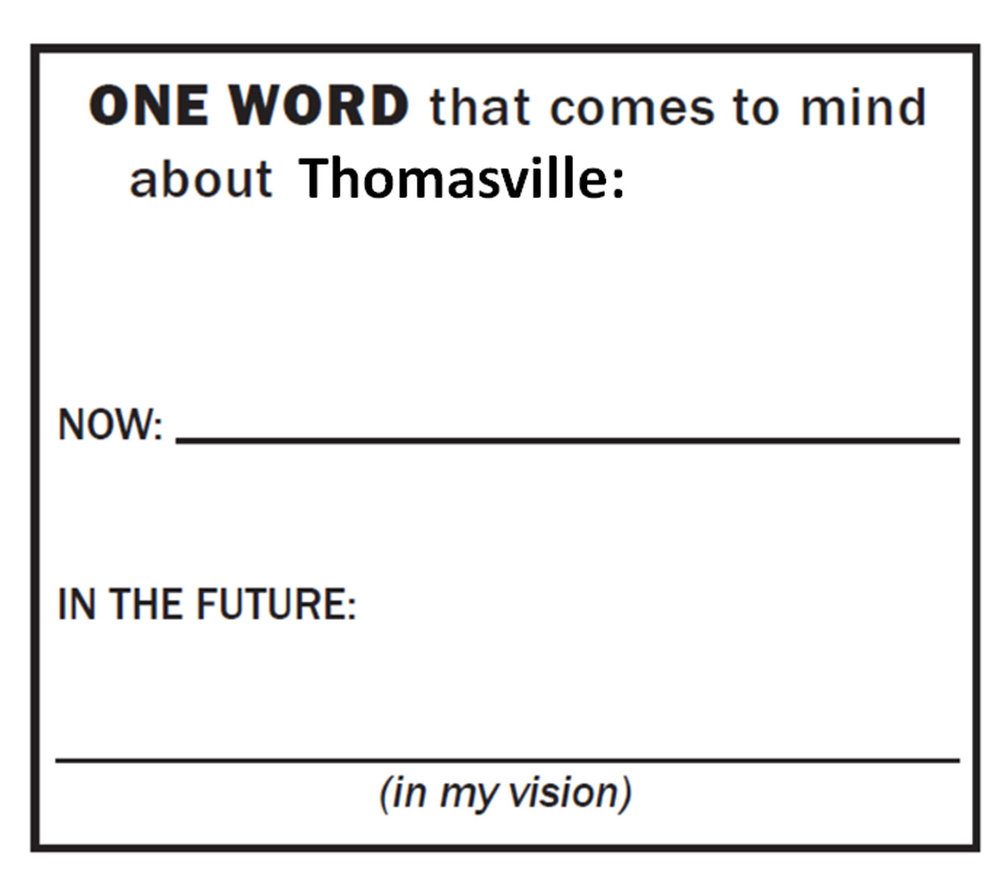 "Respondents wrote the words that came to mind when thinking about Thomasville ""Now"" and ""In the Future"""