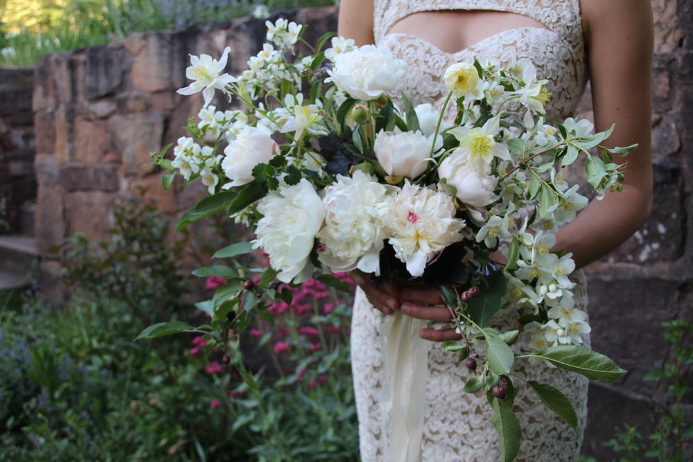 White spring wedding bouquet