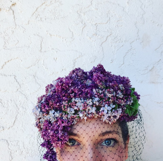 Lilac flower hat with veil