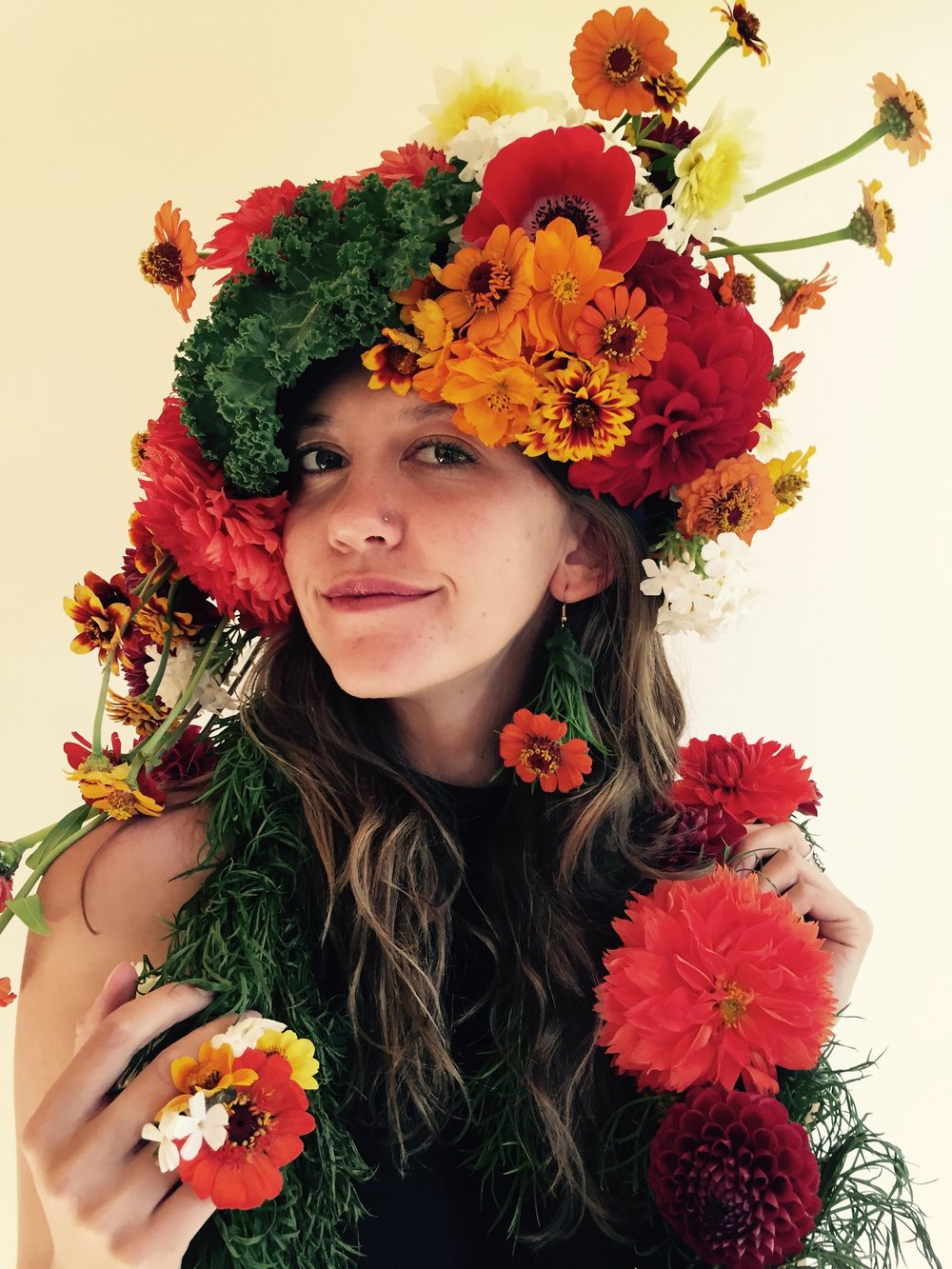 Fun flower hat, earring, scarf, and ring. Boutanical Couture/Flower Fashion with orange and red. Includes kale!