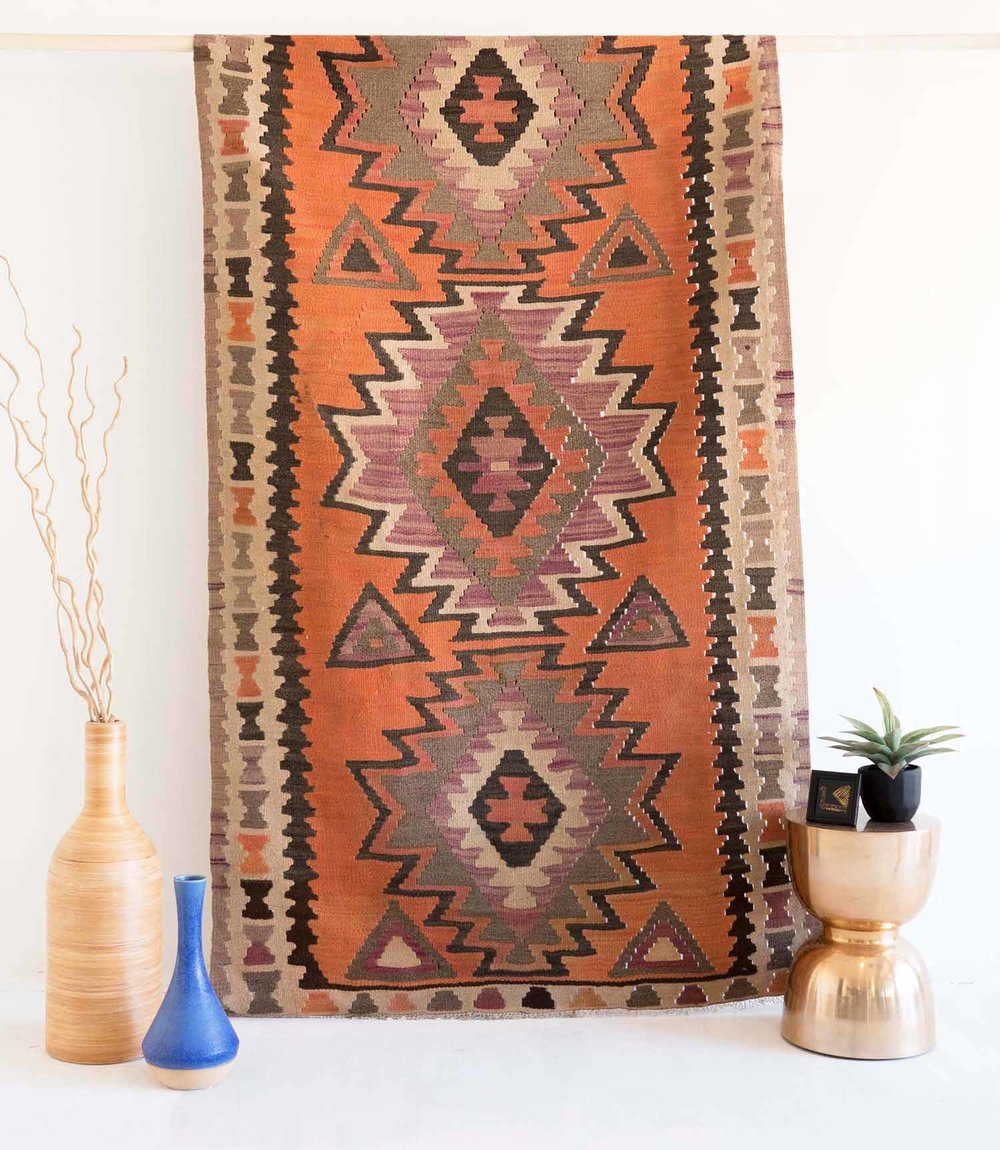 NO. 0154 /     PERSIAN KILIM   (AZERBAIJAN) / 50 YEARS / 7'11 X 4'4 FT