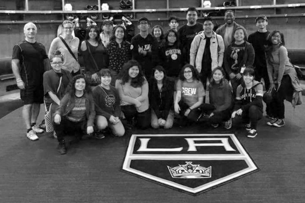 POV youth and staff met former L.A. Kings player and radio analyst Daryl Evans on a visit to the Kings' training facility.