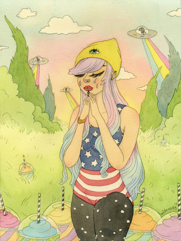 Bring me home Watercolor and graphite. 9x12 inches. 2013. Banana Split Ladies show at Leanna Lin's Wonderland. SOLD