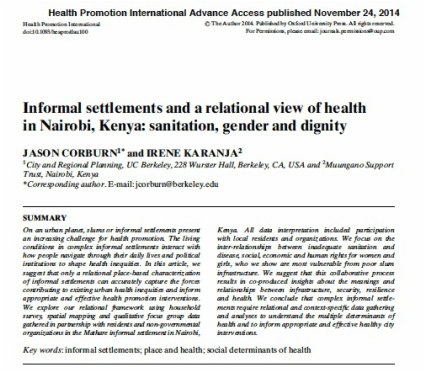 Informal settlements and a relational view of health in Nairobi, Kenya: sanitation, gender and dignity