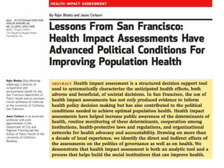 Lessons from San Francisco: Health Impact Assessments Have Advanced Political Conditions For Improving Population Health