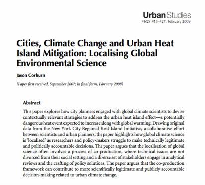 Cities, Climate Change and Urban Heat Island Mitigation: Localising Global Environmental Science
