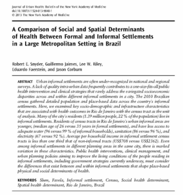 A comparison of social and spatial determinants of health between formal and informal settlements in a large metropolitan setting in Brazil