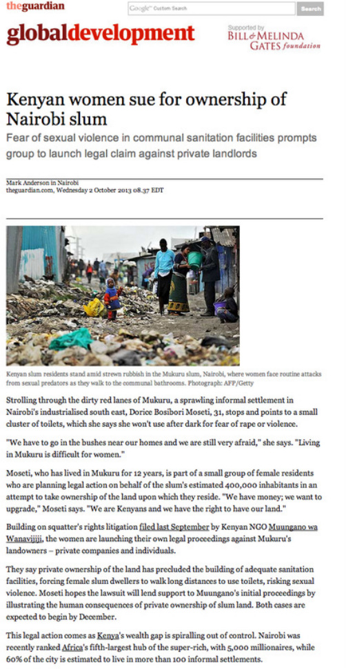 The Guardian - Kenyan Women Sue for Ownership of Nairobi Slum