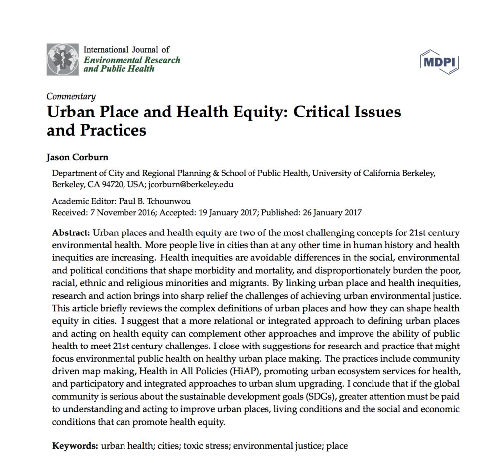 Urban Place and Health Equity: Critical Issues and Practices