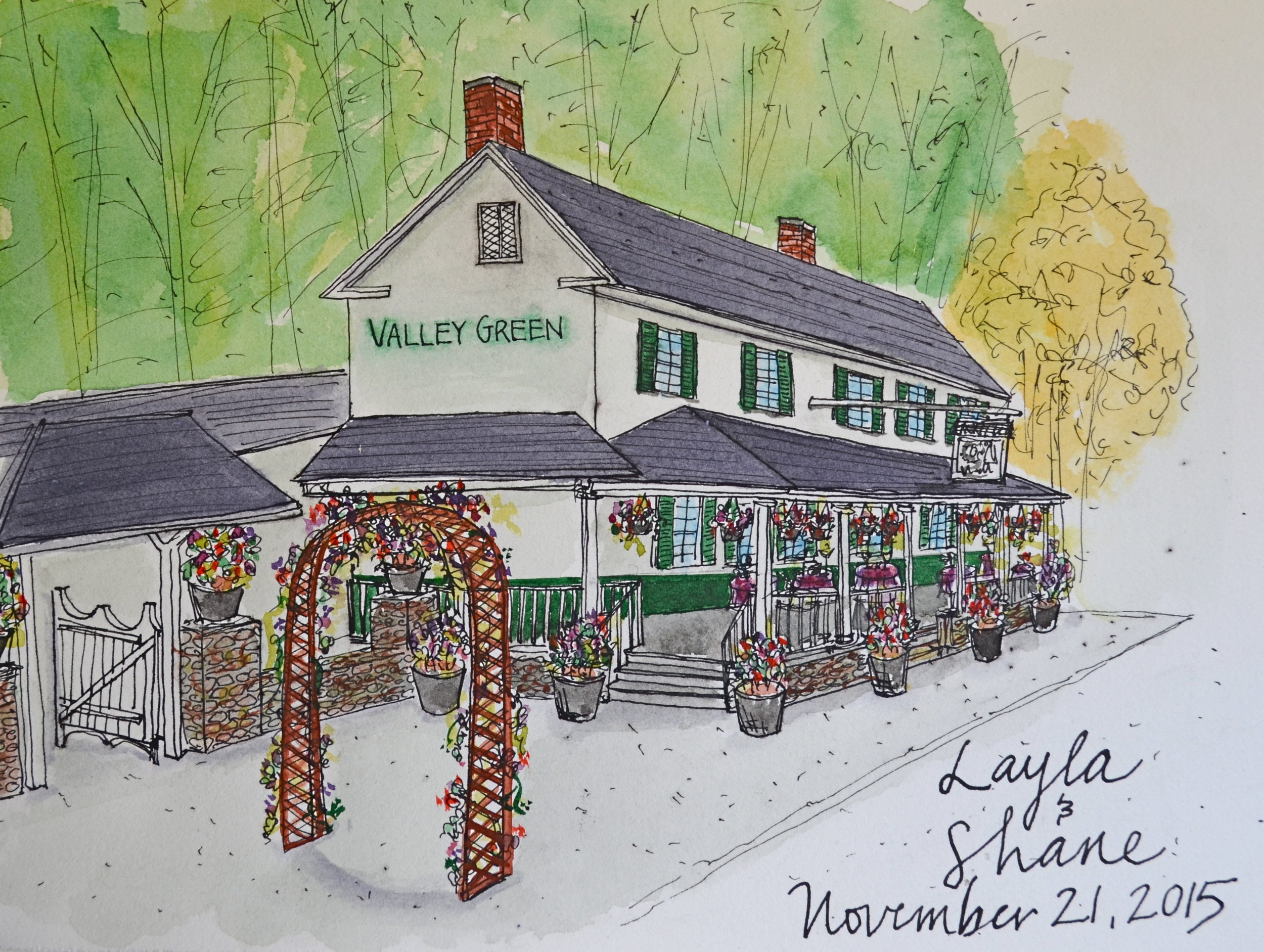 Illustration-Marissa-Huber-Valley-Green-Inn-Philadephia-Invites