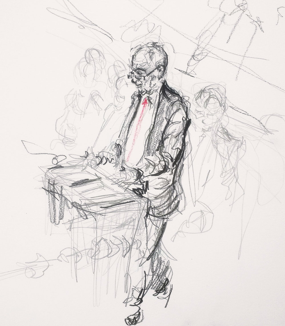 Jeremy Corbyn, Leader of the Opposition since 2015 and Labour MP for Islington since 1983, speaking from the dispatch box during PMQs. This is the third occasion I've drawn Jeremy Corbyn in person, and hopefully not the last- he's a fantastic character to draw.