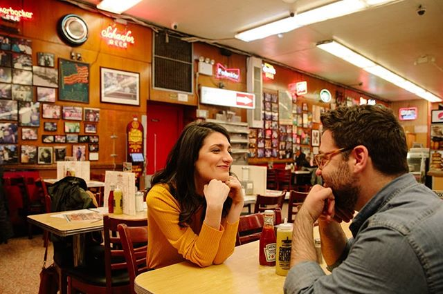 Thanks to @katzsdeli for letting us shoot there last weekend (and for handing the lovely couple a few salami for the second photo 😅). More photos from this fun engagement shoot are up on my blog today 💍