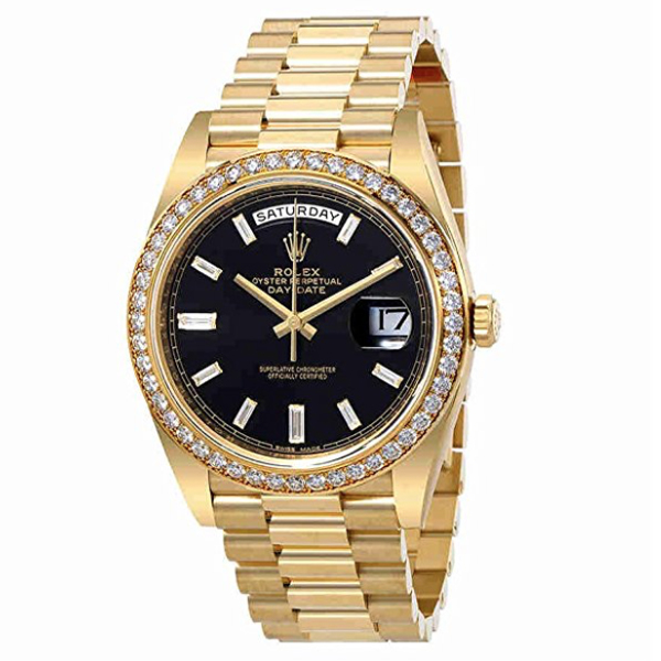 Rolex Oyster Perpetual Day-Date Black Dial Mens Gold President   $42,983