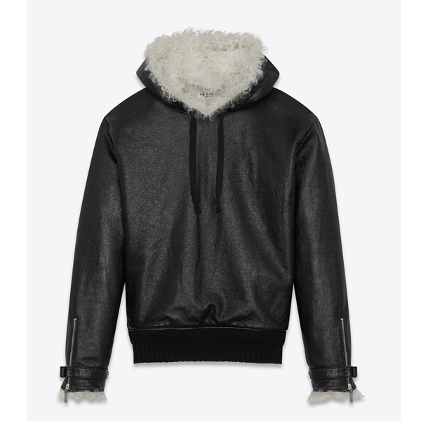 Pull-Over Jacket in Grained Leather And Natural Shearling  $6490