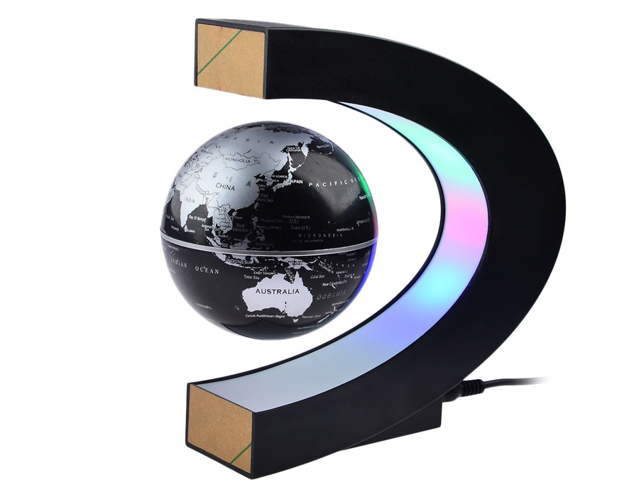 Magnetic Levitation Globe Map - Magnetic Levitation Globe Map adds a modern touch to your office desk. With the coloured LED lights and the floating globe, this looks really cool when the lights are off. This piece of art makes your table more inspiring. It works with electromagnetic technology making the earth to levitate in the air. This gadget is the perfect gift for anyone who loves to work and travel.