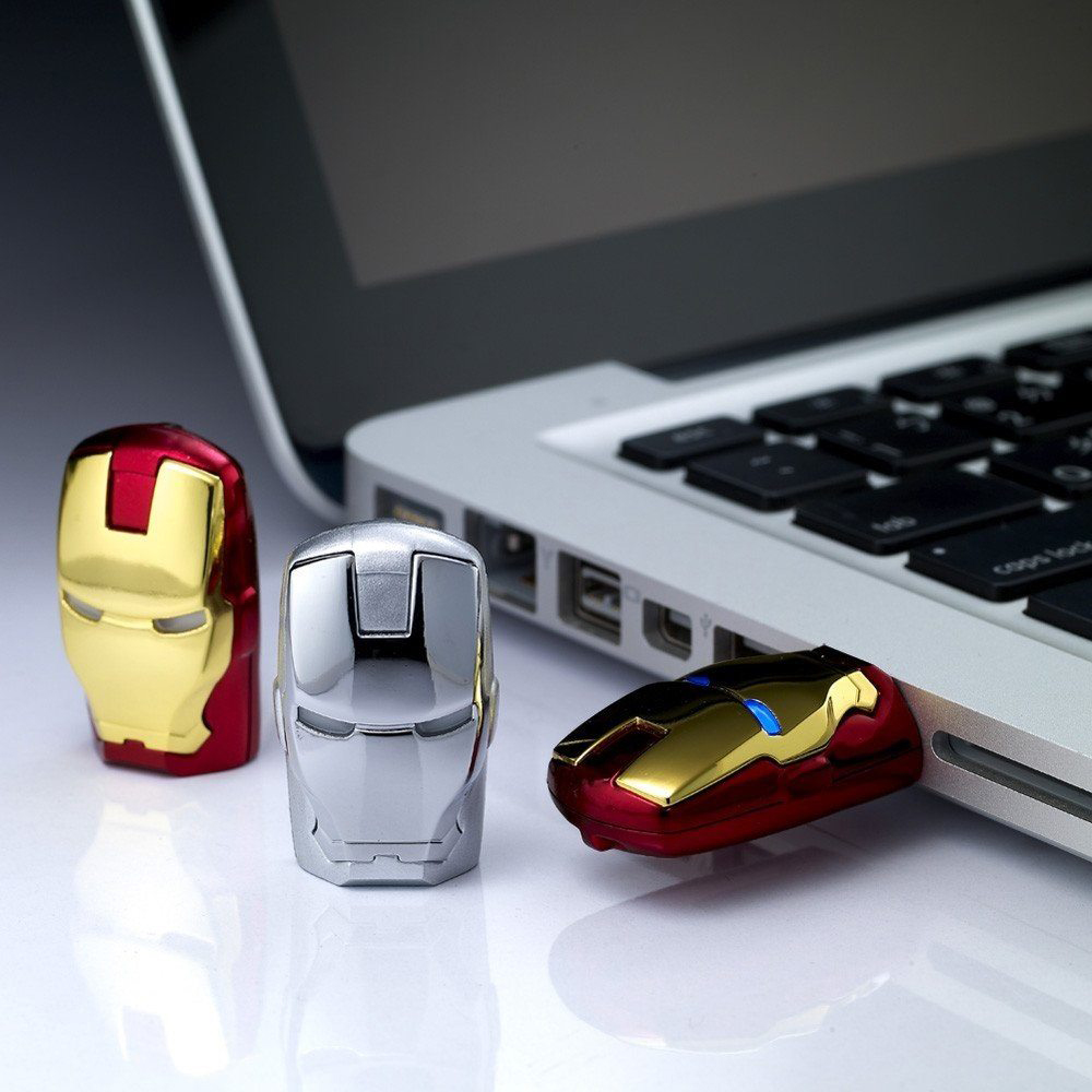 IronMan USB Flash Drive - IronMan right at your service. Giving you 16gb of memory. The eyes lights up when it's plugged.