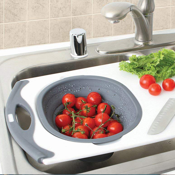 Over-the-Sink Strainer Board - Clean and drain your vegetables comfortably over the sink.