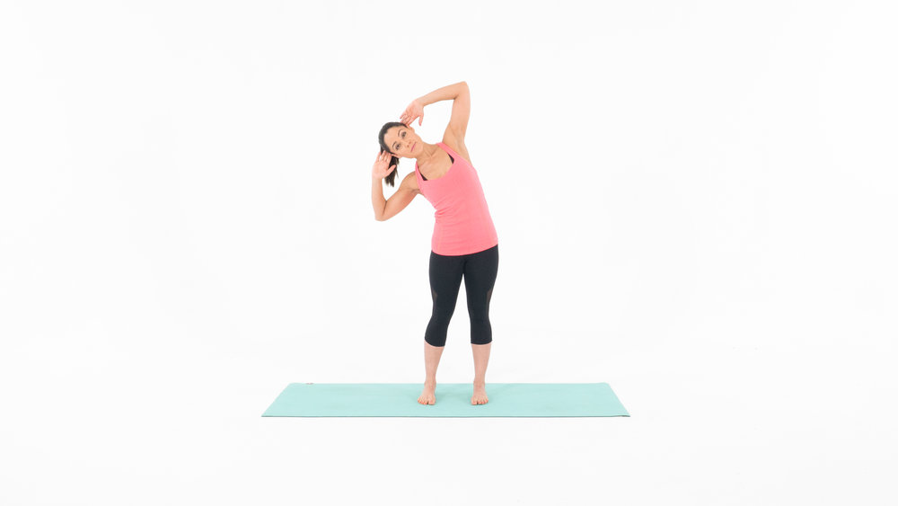 Target Muscles: Obliques 1. Start in the standing position with your feet shoulder width apart.  2. Place both your hands behind your head, being careful not to pull on your head or neck.  3. Begin to dip towards the right, tighten your stomach ,and pull back up to starting position. 4. Dip towards the left, tighten your stomach and pull back up to starting position. 5. Continue slow and controlled for 1 minute