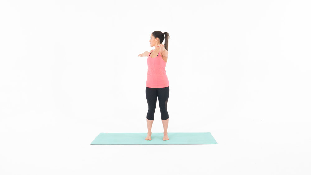 Target Muscles: Trunk, Obliques 1. Start in the standing position with your feet shoulder width apart and your arms to a T.  2. Begin to slowly rotate to the right, tighten your core and pull back to center.  3. Slowly rotate to the left, tighten your core and pull back to center. 4. Continue at your own pace for one minute