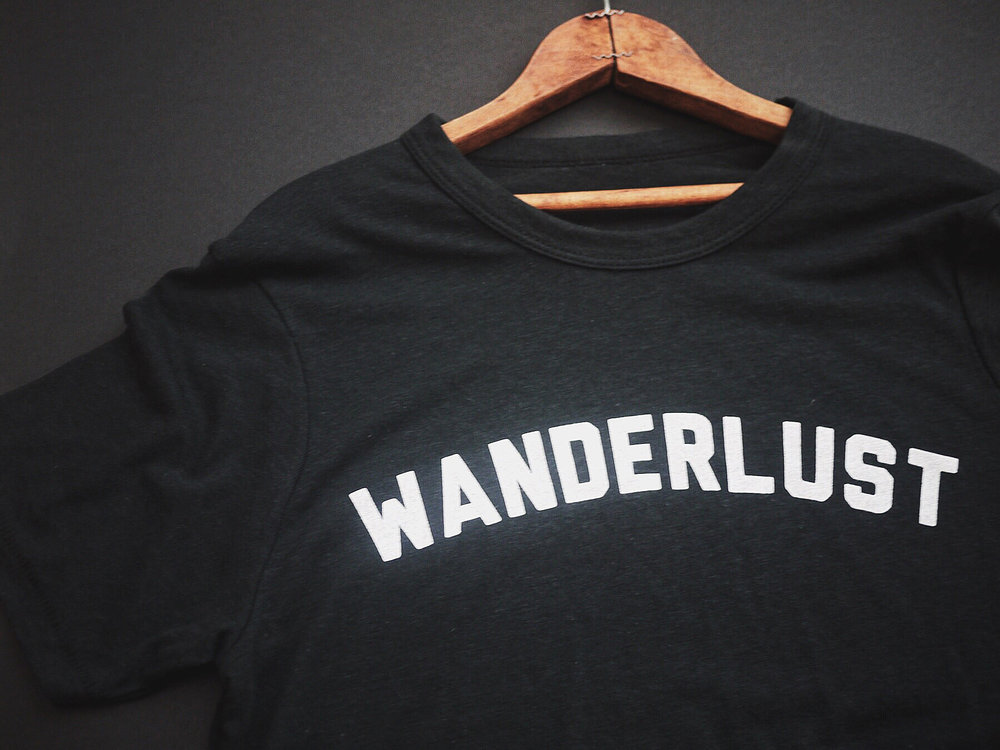 WANDERLUST -                - printed on our new soft eco cotton tee                      - designed for the free traveler
