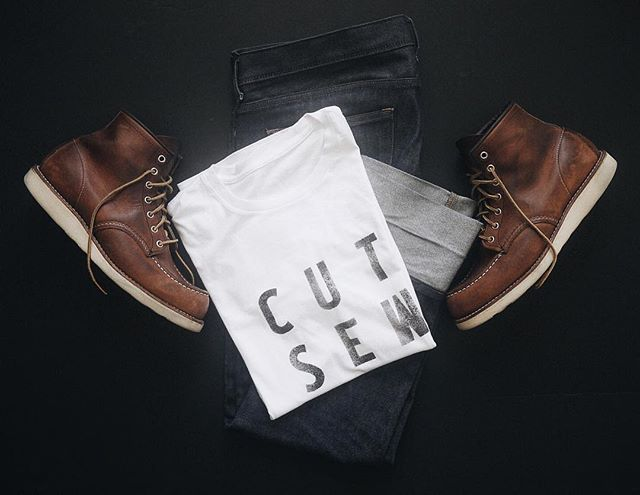 NEW CUT SEW - Hand Letterpress Tee now available in shop! For 10% off use discount code cutsew10 @ checkout. #americanmade #usa #clothingbrand #handletterpress #vsco #vscocam #madeinusa #vintagewhitetshirt #selvegedenimjeans #redwingboots #cutsew #instagood #picoftheday #styleformen #styleforwomen #industrial #industrialtshirt