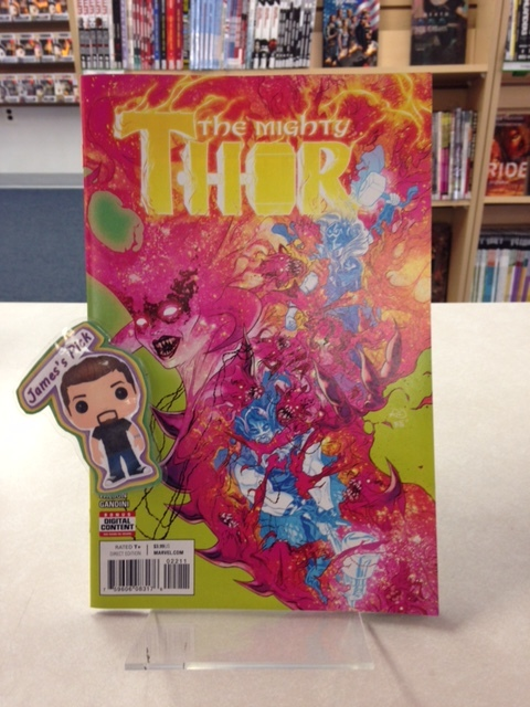 The Mighty Thor #22 - James's PickEVERYTHING BURNS! Thor and the Ultimate Thor go face-to-flame with the Queen of Cinders! But even the fire of Muspelheim pales beside the fury of the Ultimate Thor... And with his thunder comes his vengeance.
