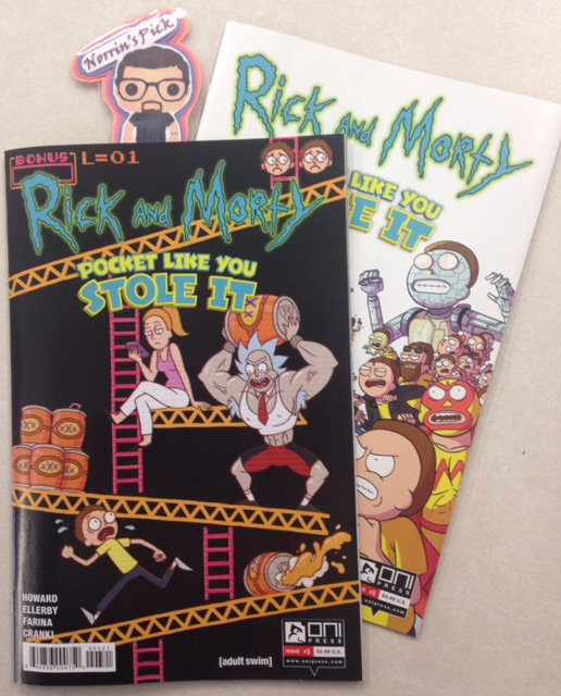 Rick and Morty: Pocket Like You Stole It #3 (of 5) - Norrin's PickAw gee, Morty's on his way to stop the Council of Ricks! Morty battling just isn't right, and we've gotta stop it! That is, until he gets stopped by Beth, and her team of pocket Jerries! Swimming Jerry! Wizard Jerry! Buff Jerry! They're all here, and they're all out to stop Morty! Plus: more Pocket Mortys cards in the back of every issue!