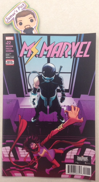 Ms. Marvel #22 - James's PickSomething sinister has turned every citizen of Jersey City against Ms. Marvel. Worse still, Becky St. Jude a.k.a. Lockdown, has made it her personal mission to take end J.C.'s great defender. With Becky's new sidekick's intimate knowledge of Ms. Marvel's moves, it's Kamala Khan's life that hangs in the balance...