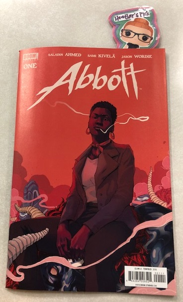 Abbott #1 - Heather's PickHugo Award-nominated novelist Saladin Ahmed (Black Bolt) and artist Sami Kivelä (Beautiful Canvas) present one woman's search for the truth that destroyed her family. Hard-nosed, chain-smoking tabloid reporter Elena Abbott investigates a series of grisly crimes that the police have ignored. Crimes she knows to be the work of dark occult forces. Forces that took her husband from her. Forces she has sworn to destroy.